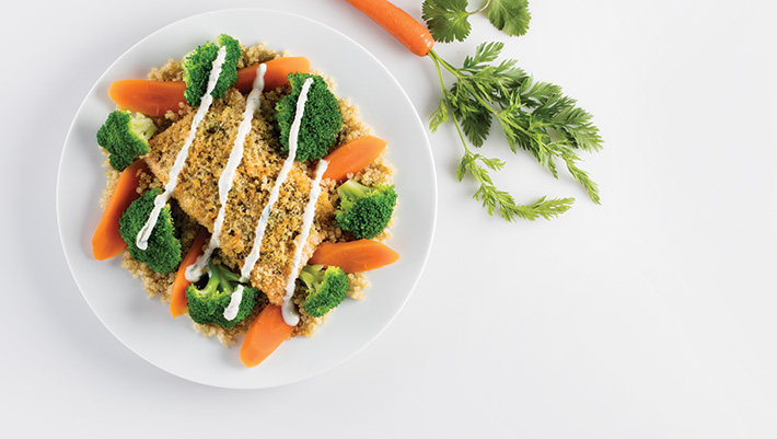 Grilled Pesto Salmon With Quinoa And Veggies